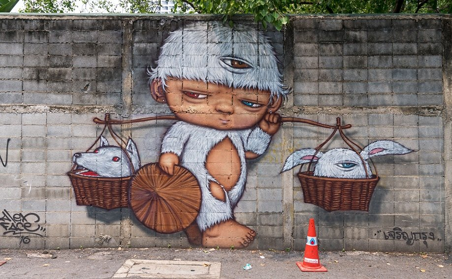 Street Art von Alex Face in der Charoen Krung Road 32 (Bangkok).