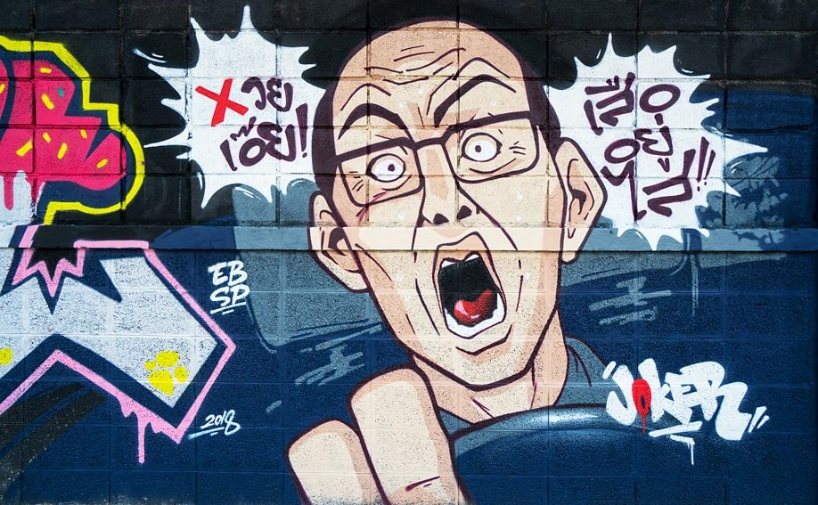 Graffiti in der Asok Din Daeng Road von BLML.
