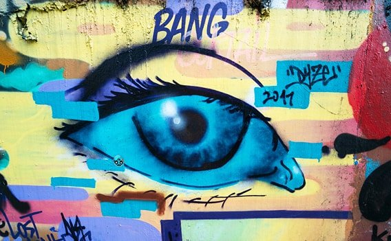 Graffiti-Auge am Khlong Saen Saep.